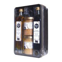 Cadeau, huile d'olive, vinaigre balsamique et 2 moutardes